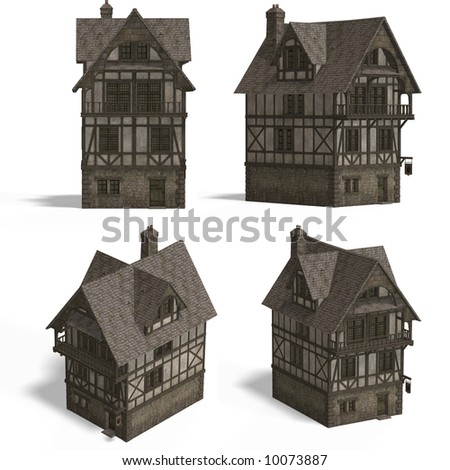 four views old fashioned house over stock illustration 16878757