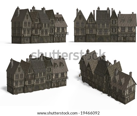 four views old fashioned house over stock illustration 20020324