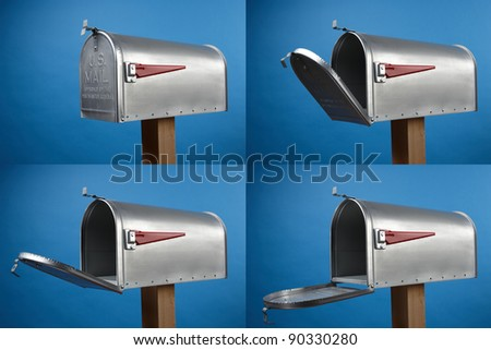 Four views of an opened mailbox with space for copy - stock photo