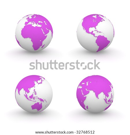 four views of pink/purple 3D globes - continents embossed