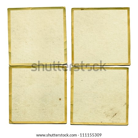 Four vintage blank dirty photos with border. Grunge background design element. - stock photo