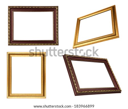 four vintage frames isolated on white background