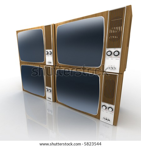 Four Vintage Televisions forming a squared block - stock photo