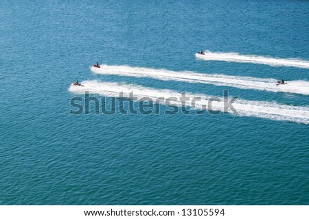four waverrunners in competiton in sea - stock photo
