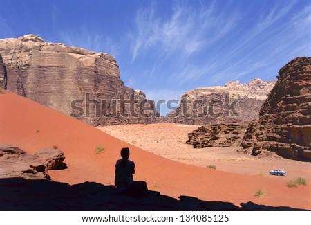 Four wheel drive in Wadi Rum desert, Jordan - stock photo