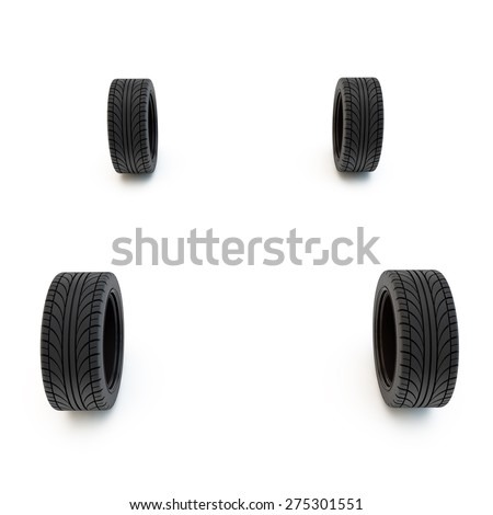 four wheels stand without car body - stock photo