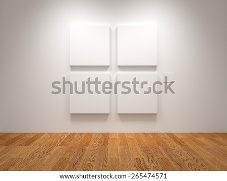 Four White Blank Canvas In An Exhibition - stock photo
