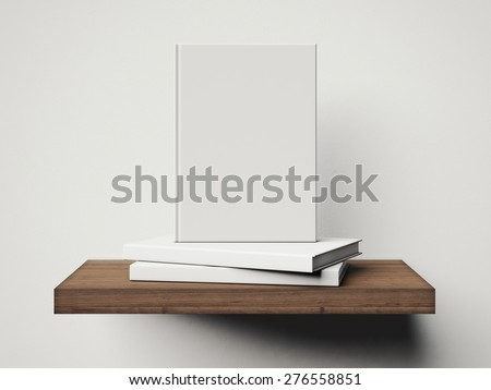 Four white books on a brown shelf. 3d rendering - stock photo