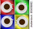 Four white ceramic coffee cups with different color backgrounds / Coffee cups - stock photo