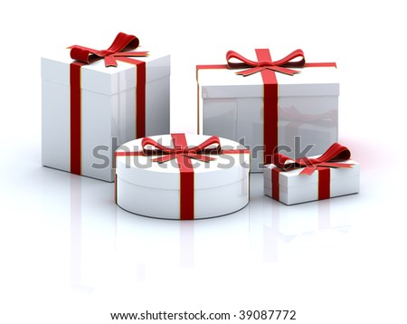 four white 3D  gift boxes  on white background