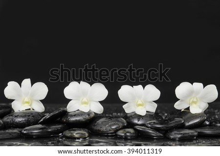 Four white orchid with therapy stones - stock photo