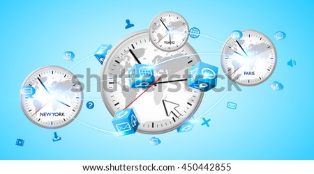 Four white timers from different countries connected to each others '3D rendering' - stock photo