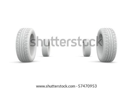 four white wheels - stock photo