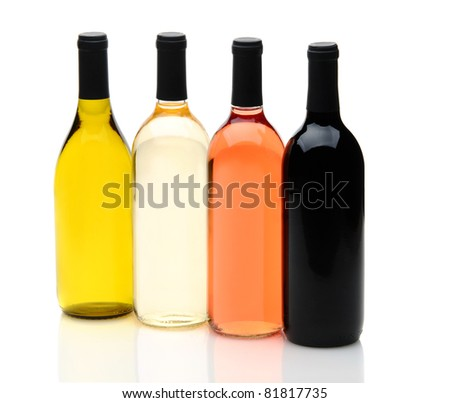 Four wine bottles on a white background with reflections, one each of chardonnay, white zinfandel, cabernet sauvignon, and pinot grigio, without labels. - stock photo