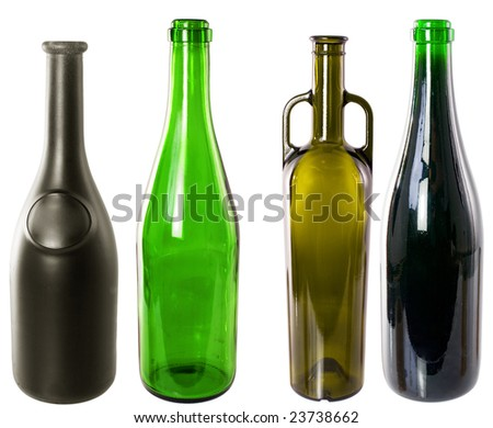 Four wine bottles on the white background