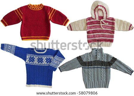 Four winter sweaters on  white background - stock photo
