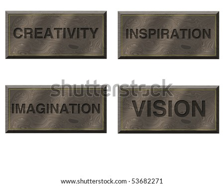 Four wood plaques specifying values - stock photo
