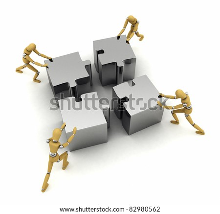 Four wooden mannequins pushing puzzle pieces in place - stock photo