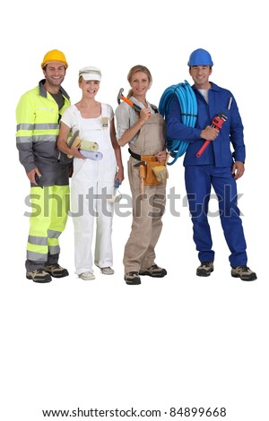 Four workers in different trades - stock photo
