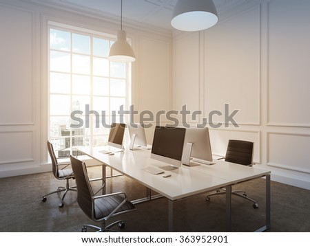Four workplaces arranged in pairs symmetrically with computers only on them. Four leather chairs around the table. New York view in the window.  3D rendering.