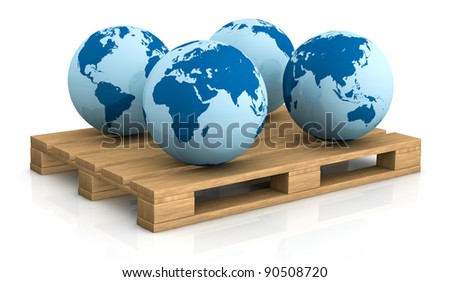 four world globes showing different areas on a pallet; concept of shipping everywhere (3d render) - stock photo