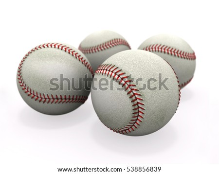 four worn baseball ball on a white background 3D