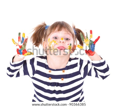 four-year girl with hands soiled in a paint. It is isolated on a white background - stock photo