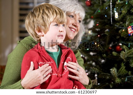 Four year old boy sitting on grandmother's lap by Christmas tree - stock photo