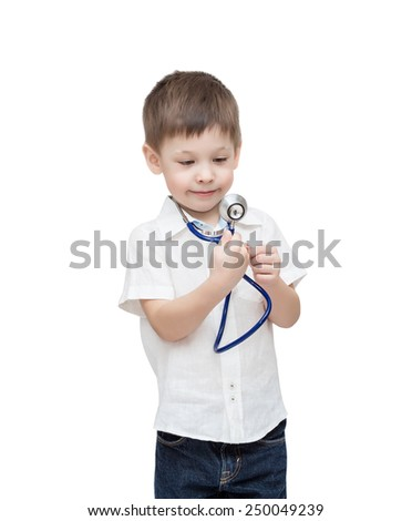 Four-year-old boy with a stethoscope, isolated on the white - stock photo