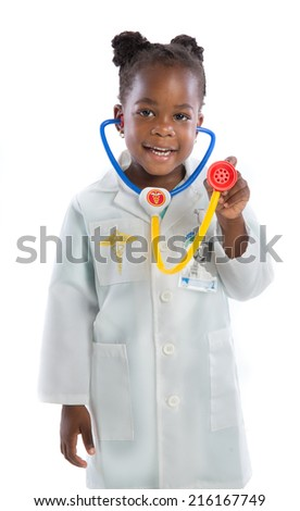 Four Year Old Little African American Girl Wearing  Doctor Outfit Standing Isolated on White Background