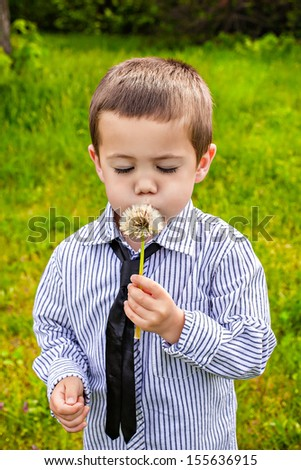 Four years old child blowing Dandelion seed outdoor in spring garden - stock photo