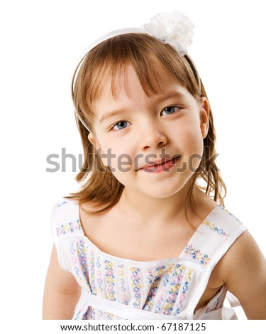 Four years old girl portrait isolated on white