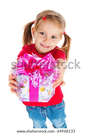 Four years old girl wih the present on white - stock photo