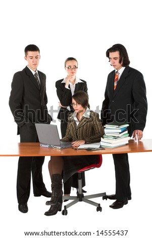 Four young businessmen on white isolated background