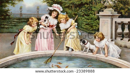 Four young girls playing by a pool of goldfish in a beautiful garden estate - a Victorian greeting card illustration, circa 1880 - stock photo