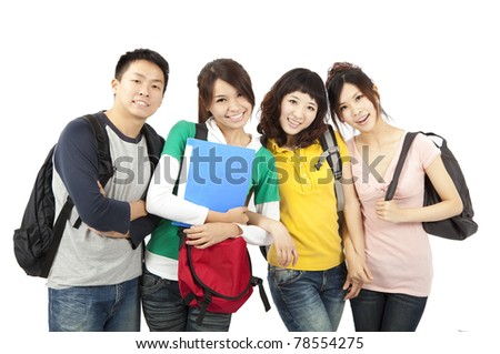four young happy students