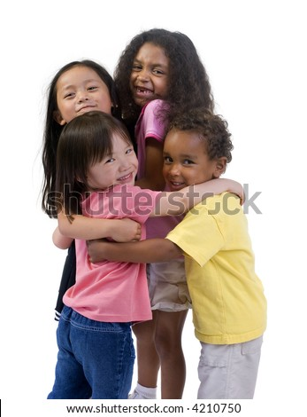 Four young kids having fun and growing up. Childhood, learning, exploration family - stock photo
