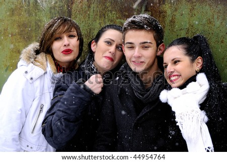 four young people having fun - stock photo
