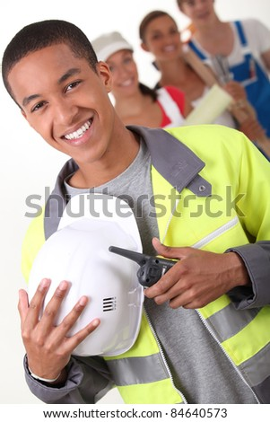 Four young people illustrating different occupations - stock photo
