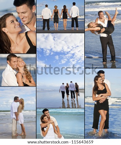 Four young people, two couples, holding hands, having fun and relaxing on a beach together in the summer sunshine in love - stock photo