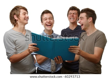 Four young people working and having fun time together - stock photo