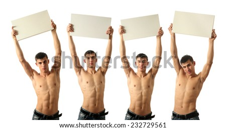 Four young sexy men showing copy space blank signs isolated on white - stock photo