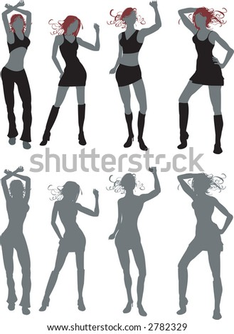 four young women dancing, work great in silhouette or in simple colours. Both included. Raster version