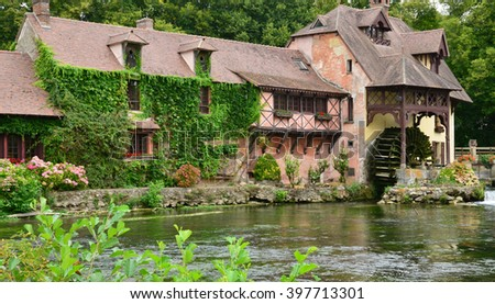 Fourges, France - august 13 2015 : the water mill wich is now a gastronomic restaurant