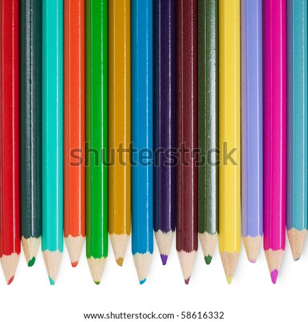 Fourteen children's color pencils on a white background