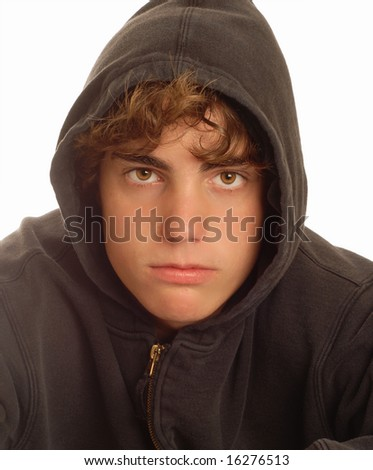 fourteen year old teenage with aggressive bully expression - stock photo