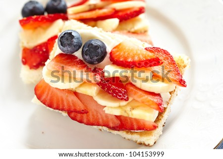 Fourth of July breakfast with toast - stock photo