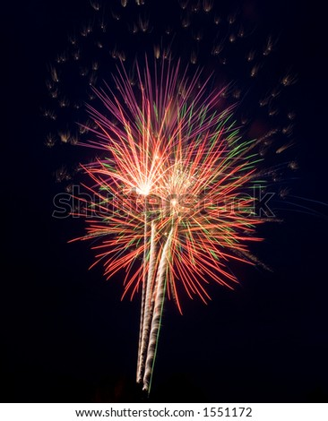 Fourth of July fireworks display at Brockport, NY! - stock photo