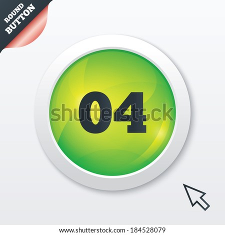 Fourth step sign. Loading process symbol. Step four. Green shiny button. Modern UI website button with mouse cursor pointer.