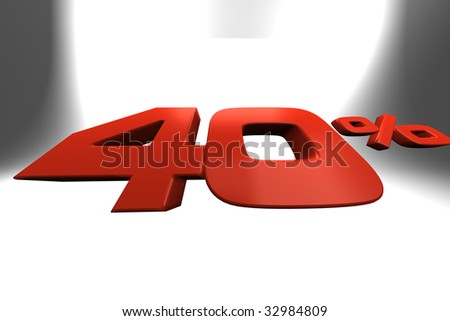 Fourty percent 3D banner ideal for illustrate sale periods - stock photo